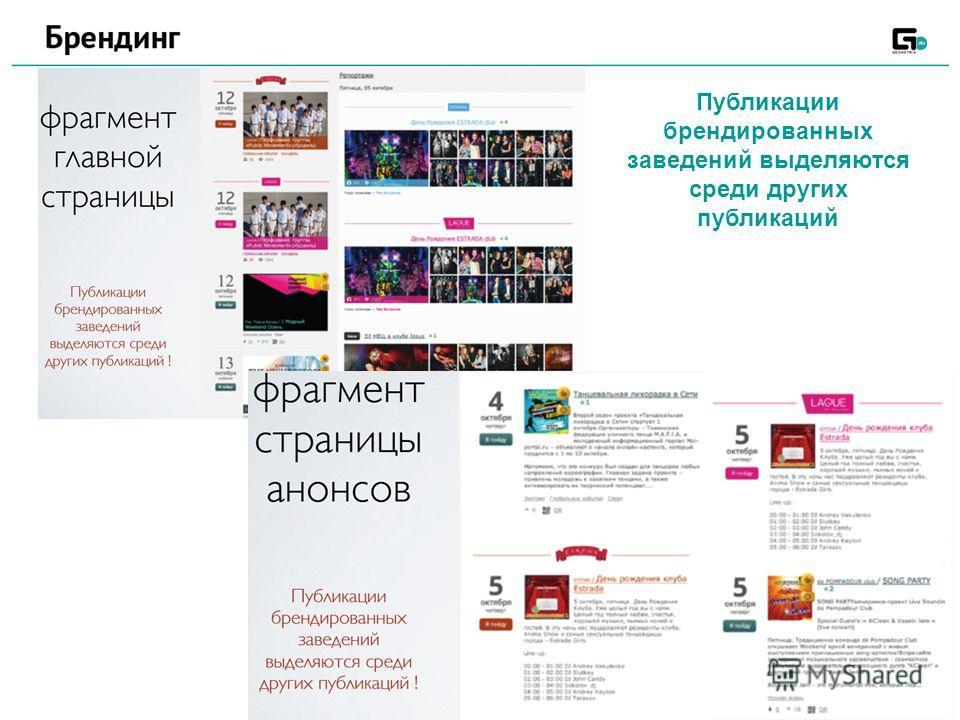 Публикации брендированных заведений выделяются среди других публикаций