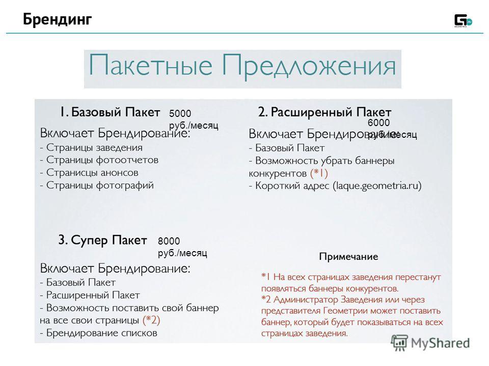 5000 руб./месяц 6000 руб./месяц 8000 руб./месяц