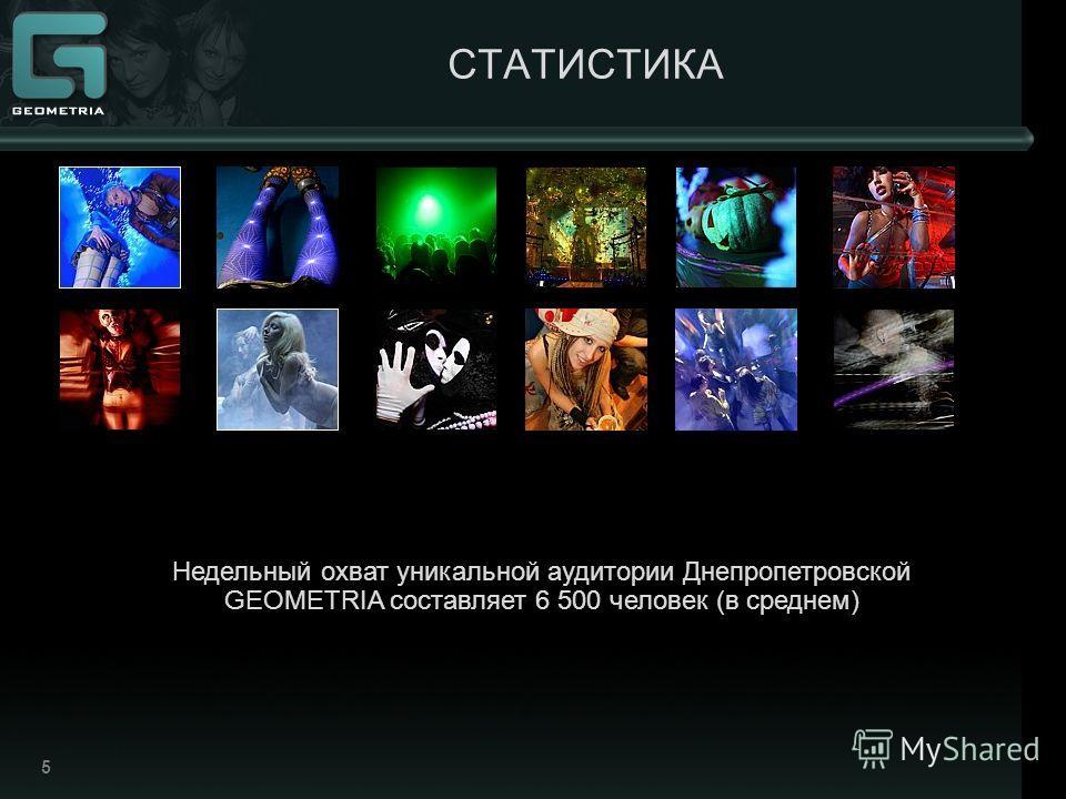 5 СТАТИСТИКА Недельный охват уникальной аудитории Днепропетровской GEOMETRIA составляет 6 500 человек (в среднем)