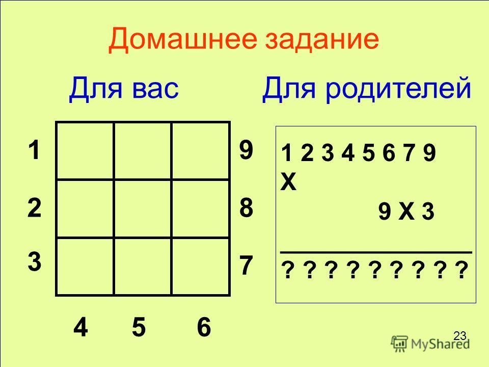 1 2 3 456 7 8 9 1 2 3 4 5 6 7 9 X 9 X 3 ______________ ? ? ? ? ? ? ? ? ? Домашнее задание Для васДля родителей 23