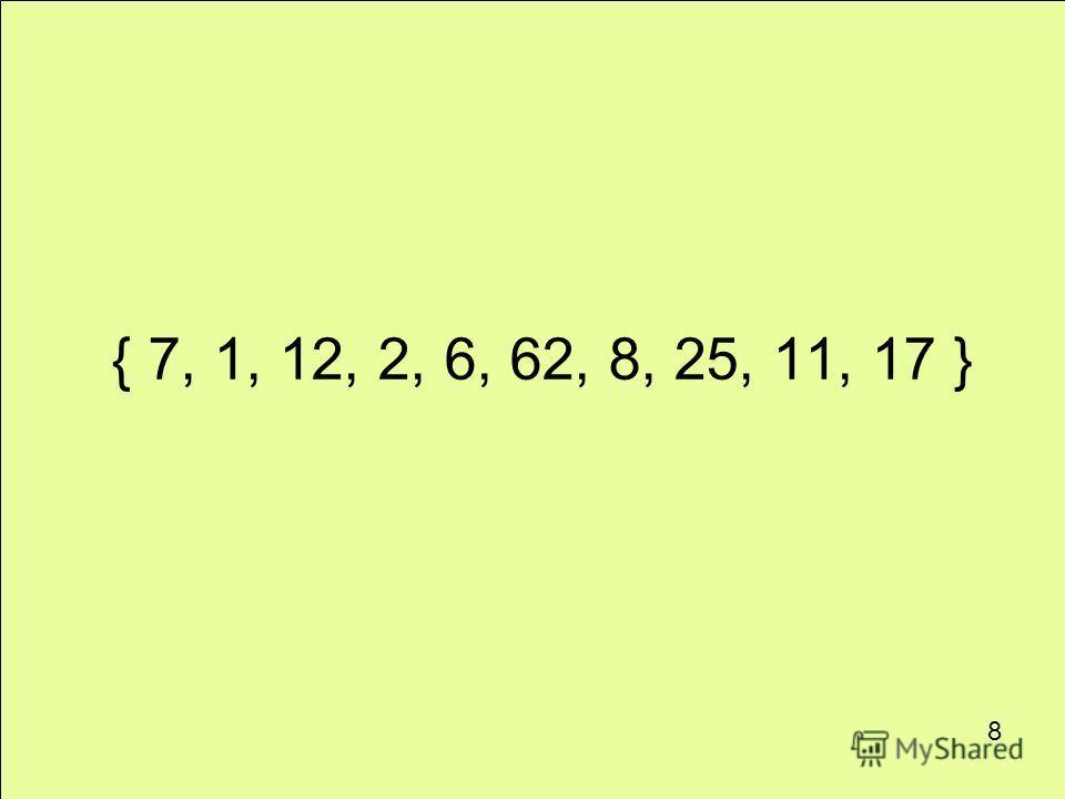 { 7, 1, 12, 2, 6, 62, 8, 25, 11, 17 } 8