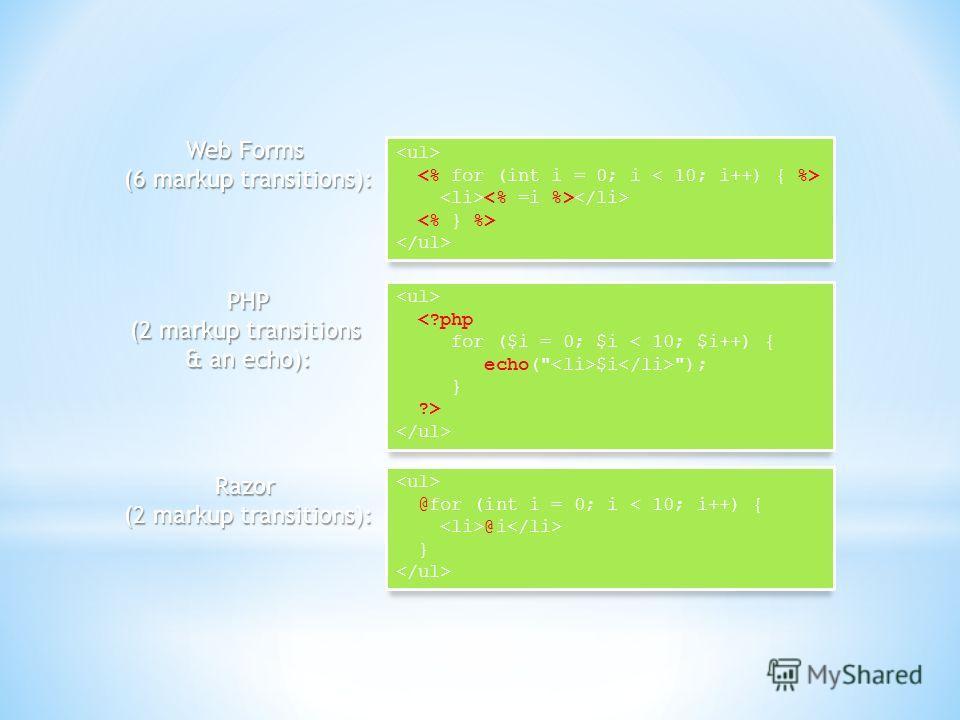 @for (int i = 0; i < 10; i++) { @i } Razor (2 markup transitions): Web Forms (6 markup transitions):  PHP (2 markup transitions & an echo):