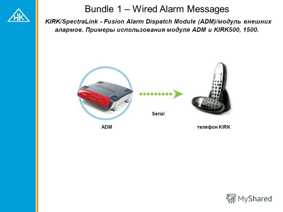 Bundle 1 – Wired Alarm Messages KIRK/SpectraLink - Fusion Alarm Dispatch Module (ADM)/модуль внешних алармов. Примеры использования модуля ADM и KIRK500, 1500. ADMтелефон KIRK Serial