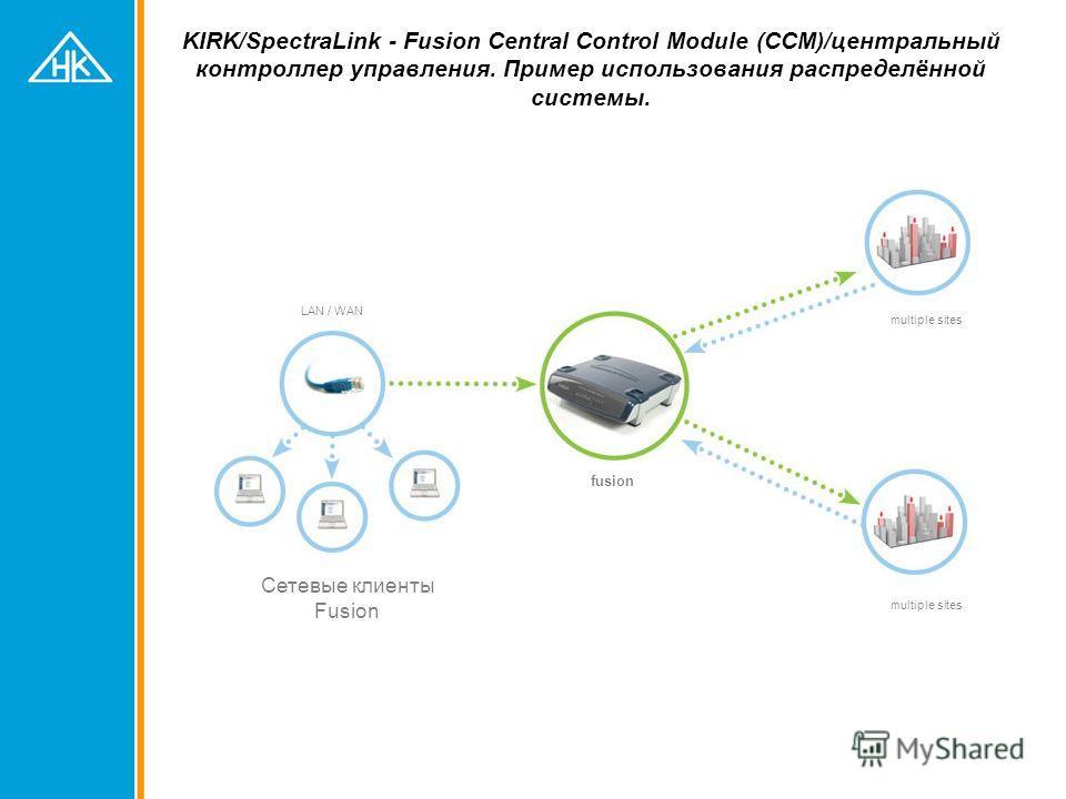 KIRK/SpectraLink - Fusion Central Control Module (CCM)/центральный контроллер управления. Пример использования распределённой системы. fusion multiple sites Сетевые клиенты Fusion LAN / WAN