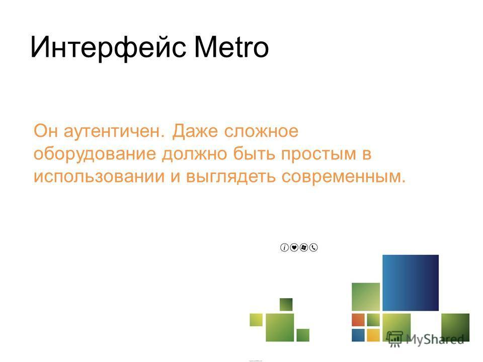 Интерфейс Metro Он аутентичен. Даже сложное оборудование должно быть простым в использовании и выглядеть современным.
