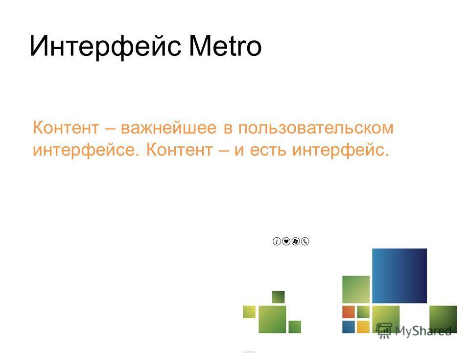 Интерфейс Metro Контент – важнейшее в пользовательском интерфейсе. Контент – и есть интерфейс.