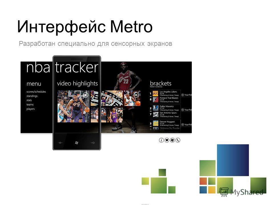 Интерфейс Metro Разработан специально для сенсорных экранов