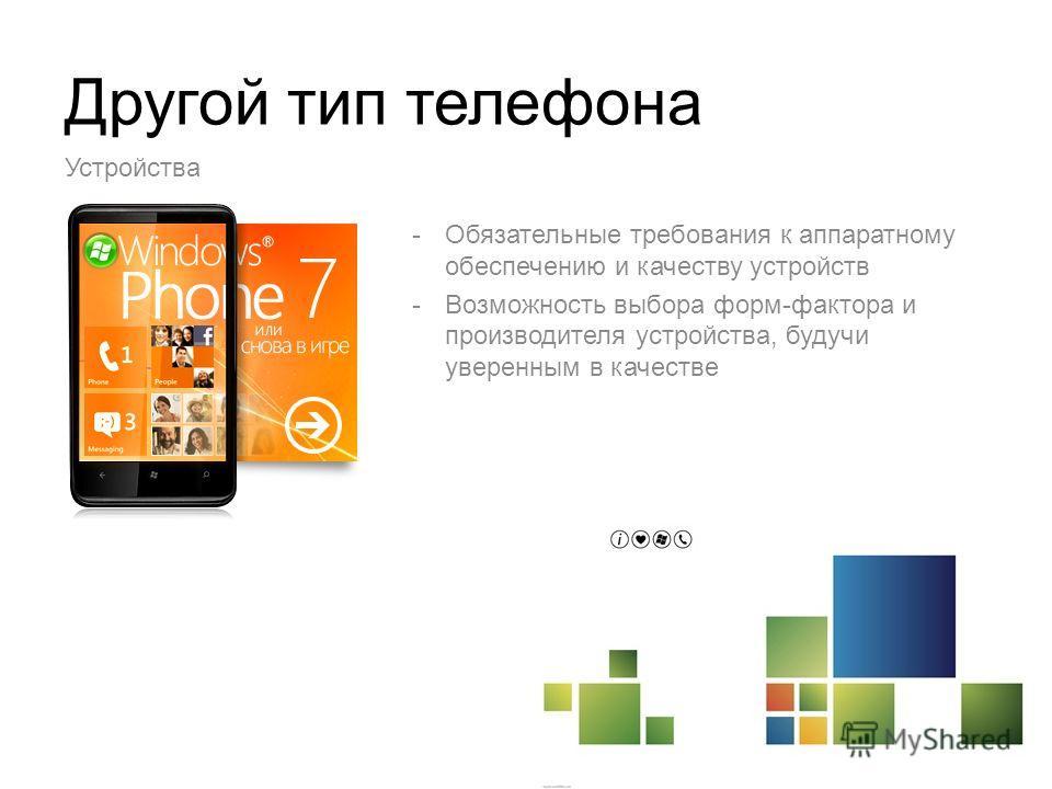 Другой тип телефона -Обязательные требования к аппаратному обеспечению и качеству устройств -Возможность выбора форм-фактора и производителя устройства, будучи уверенным в качестве Устройства