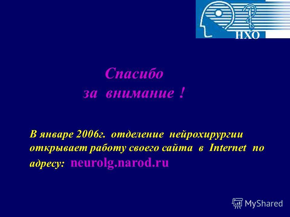Спасибо за внимание ! НХО В январе 2006г. отделение нейрохирургии открывает работу своего сайта в Internet по адресу: neurolg.narod.ru