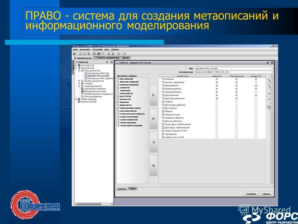 ПРАВО - система для создания метаописаний и информационного моделирования