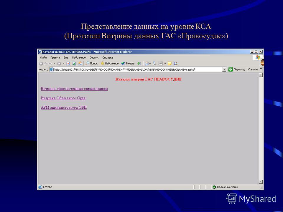 Представление данных на уровне КСА (Прототип Витрины данных ГАС «Правосудие»)
