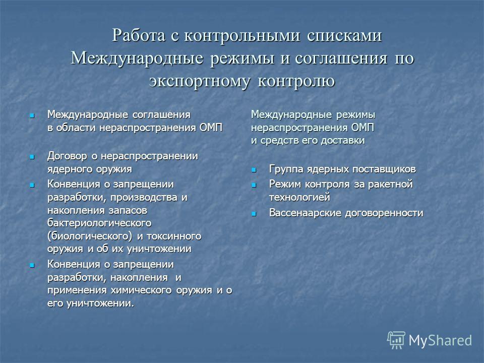 Работа с контрольными списками Международные режимы и соглашения по экспортному контролю Работа с контрольными списками Международные режимы и соглашения по экспортному контролю Международные соглашения в области нераспространения ОМП Международные с