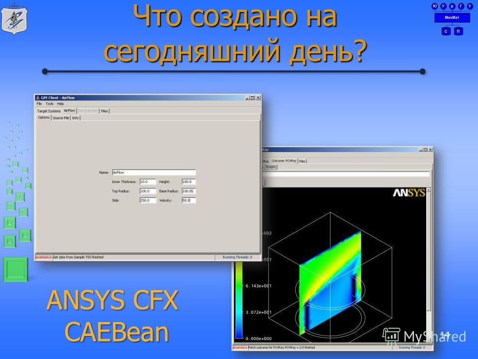 Что создано на сегодняшний день? 14 ANSYS CFX CAEBean