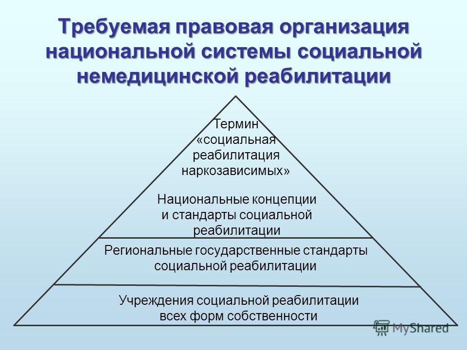 Требуемая правовая организация национальной системы социальной немедицинской реабилитации Региональные государственные стандарты социальной реабилитации Учреждения социальной реабилитации всех форм собственности Национальные концепции и стандарты соц