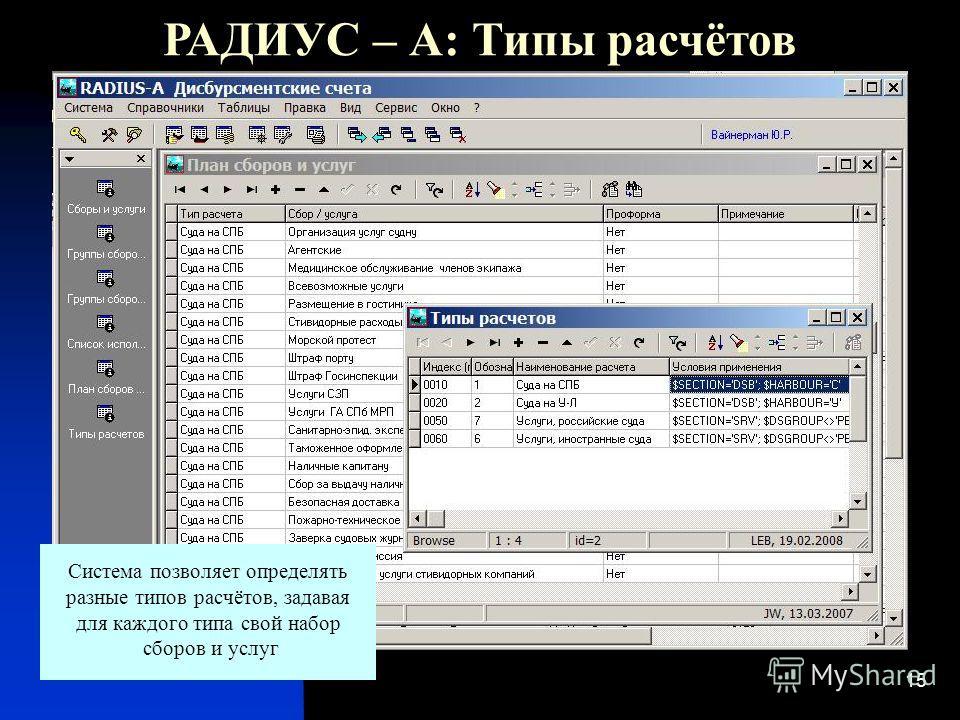 15 РАДИУС – А: Типы расчётов Система позволяет определять разные типов расчётов, задавая для каждого типа свой набор сборов и услуг