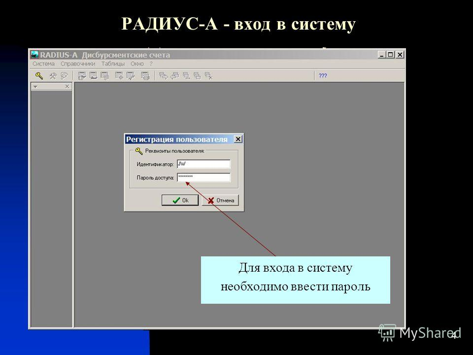 4 РАДИУС-А - вход в систему Для входа в систему необходимо ввести пароль