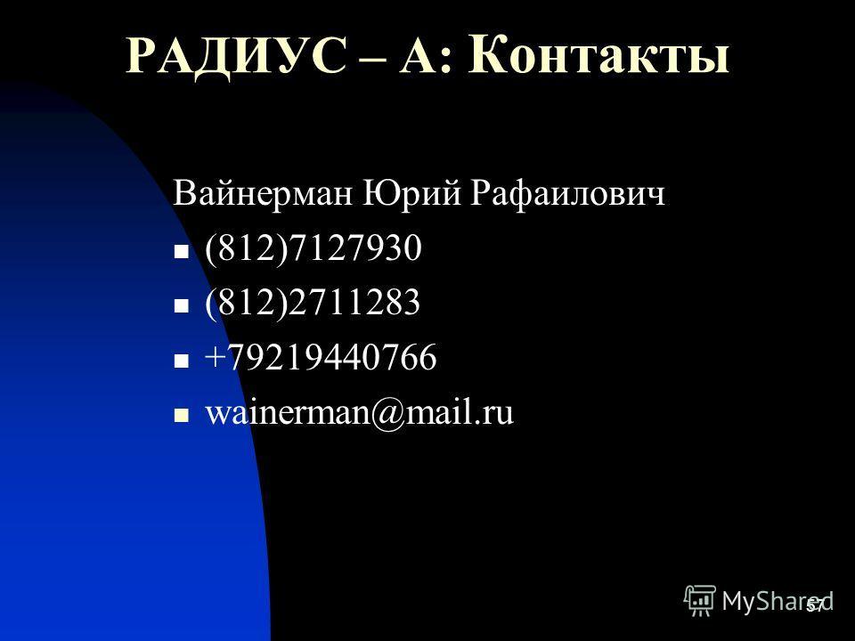 57 РАДИУС – А: Контакты Вайнерман Юрий Рафаилович (812)7127930 (812)2711283 +79219440766 wainerman@mail.ru