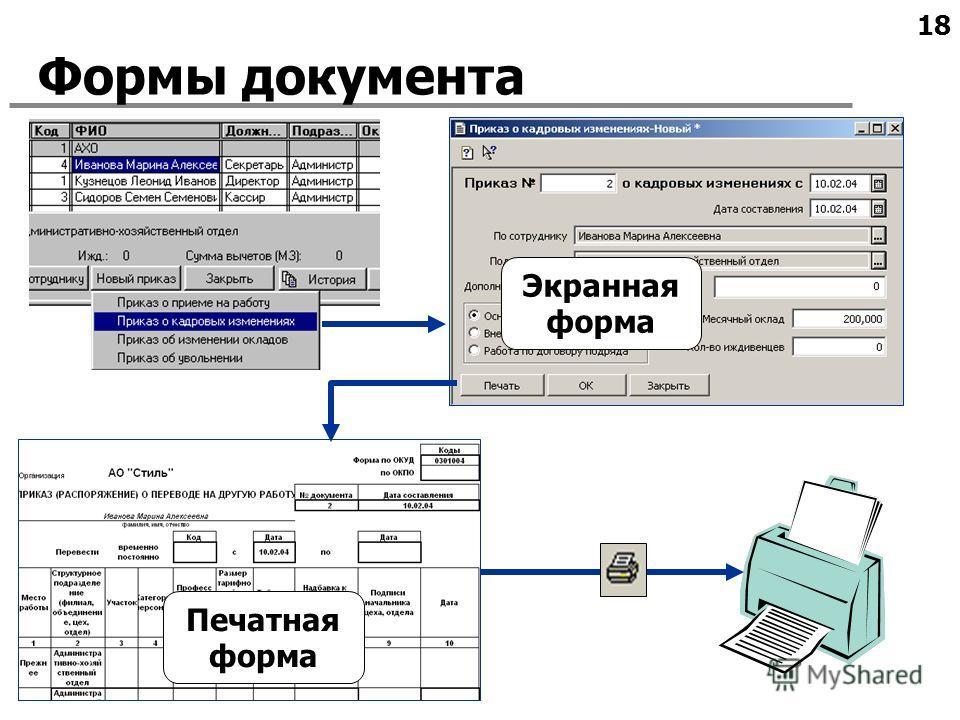 18 Формы документа Экранная форма Печатная форма