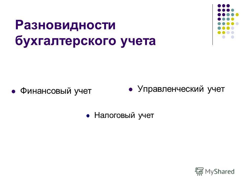 Разновидности бухгалтерского учета Финансовый учет Управленческий учет Налоговый учет