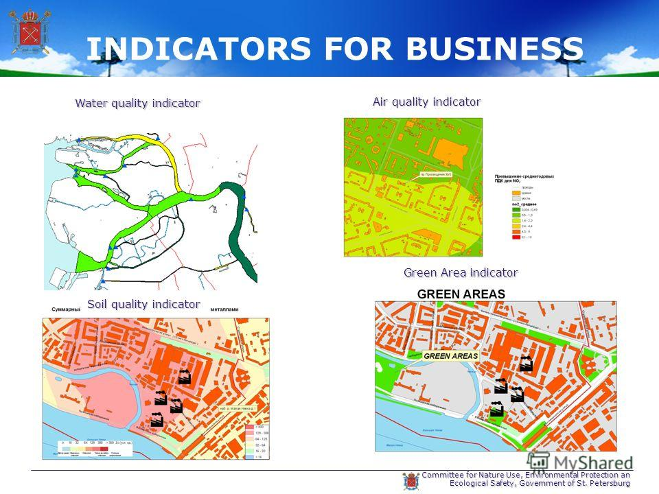 Committee for Nature Use, Environmental Protection an Ecological Safety, Government of St. Petersburg INDICATORS FOR BUSINESS Water quality indicator Air quality indicator Soil quality indicator Green Area indicator