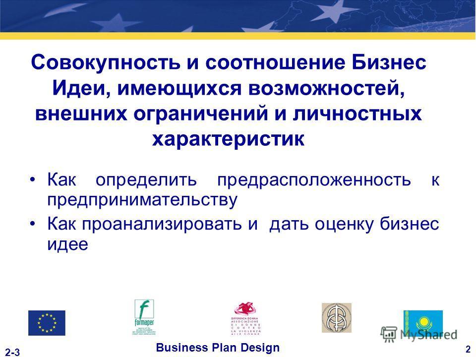 Business Plan Design 2 2-3 Совокупность и соотношение Бизнес Идеи, имеющихся возможностей, внешних ограничений и личностных характеристик Как определить предрасположенность к предпринимательству Как проанализировать и дать оценку бизнес идее