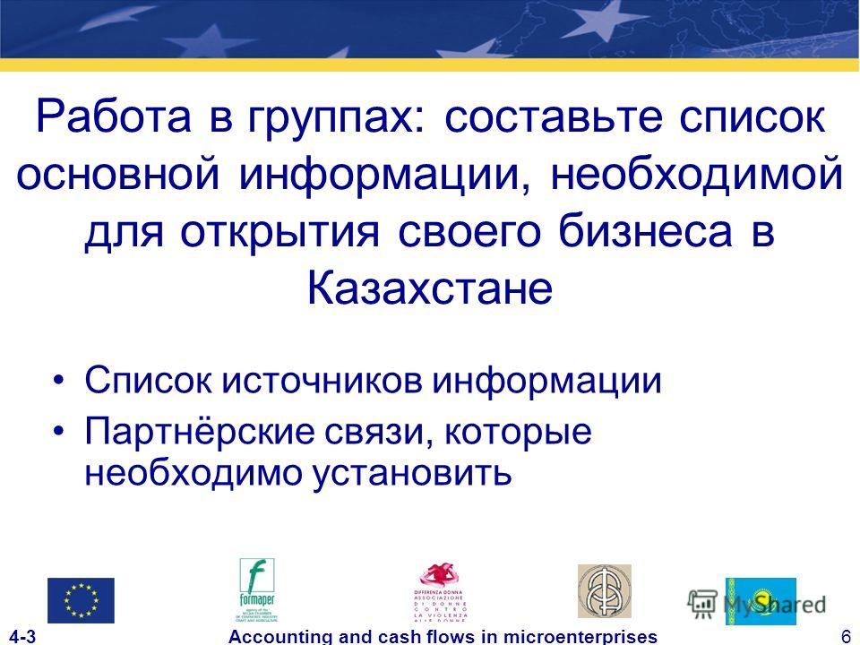 4-36Accounting and cash flows in microenterprises Работа в группах: составьте список основной информации, необходимой для открытия своего бизнеса в Казахстане Список источников информации Партнёрские связи, которые необходимо установить