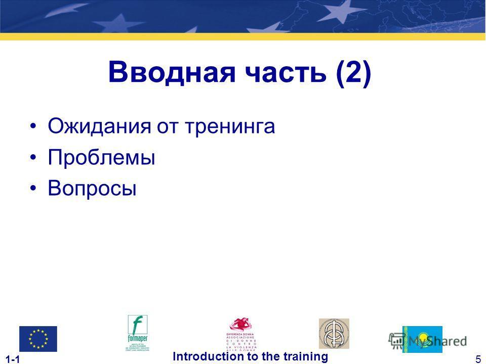 1-15 Introduction to the training Ожидания от тренинга Проблемы Вопросы Вводная часть (2)
