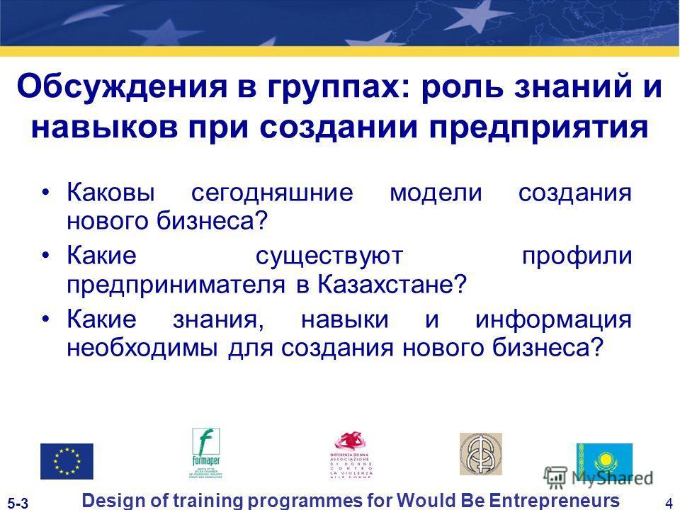 5-34 Design of training programmes for Would Be Entrepreneurs Обсуждения в группах: роль знаний и навыков при создании предприятия Каковы сегодняшние модели создания нового бизнеса? Какие существуют профили предпринимателя в Казахстане? Какие знания,