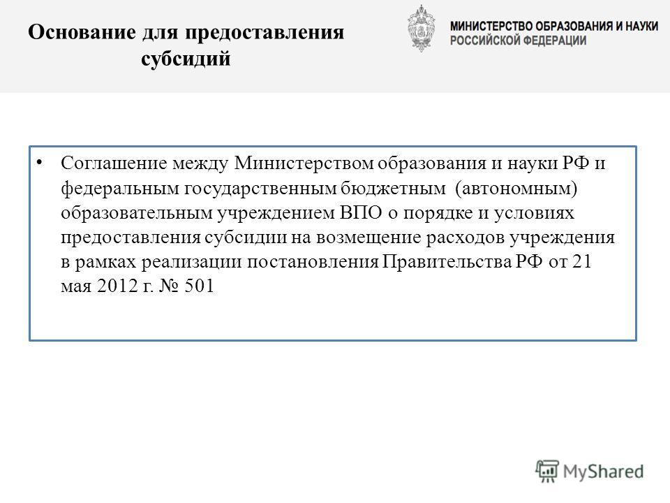 Основание для предоставления субсидий Соглашение между Министерством образования и науки РФ и федеральным государственным бюджетным (автономным) образовательным учреждением ВПО о порядке и условиях предоставления субсидии на возмещение расходов учреж