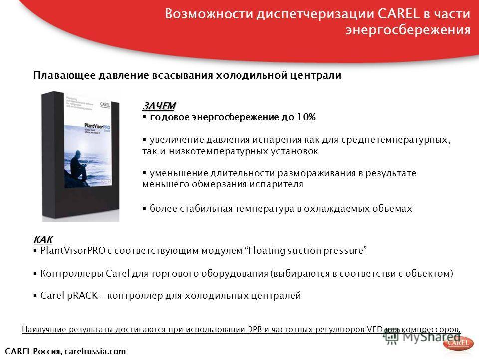 CAREL Россия, carelrussia.com Плавающее давление всасывания холодильной централи ЗАЧЕМ годовое энергосбережение до 10% увеличение давления испарения как для среднетемпературных, так и низкотемпературных установок уменьшение длительности размораживани