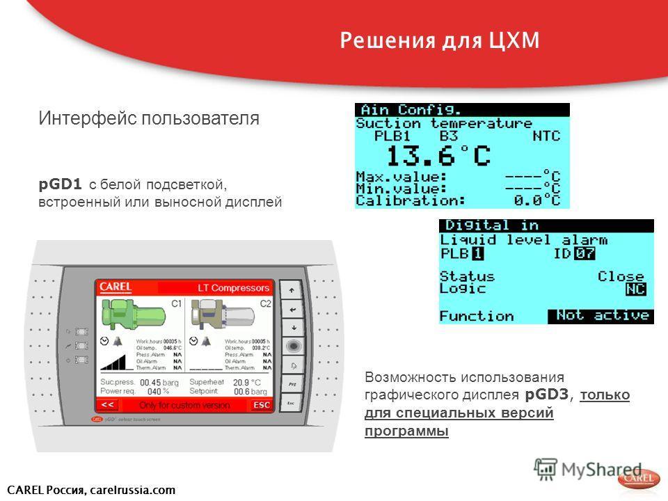 CAREL Россия, carelrussia.com Интерфейс пользователя pGD1 с белой подсветкой, встроенный или выносной дисплей Возможность использования графического дисплея pGD3, только для специальных версий программы Решения для ЦХМ