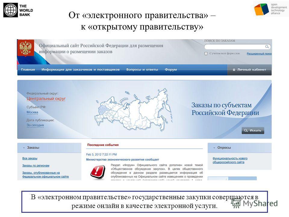 От «электронного правительства» – к «открытому правительству» В «электронном правительстве» государственные закупки совершаются в режиме онлайн в качестве электронной услуги.