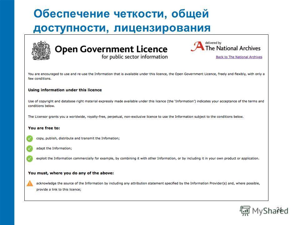 Обеспечение четкости, общей доступности, лицензирования 24