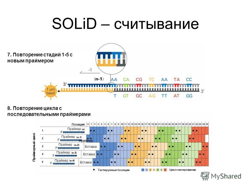 SOLiD – считывание 7. Повторение стадий 1-5 с новым праймером 8. Повторение цикла с последовательными праймерами Позиция Праймер Тестируемые позиции Цикл лигирования Праймерный цикл Вставка