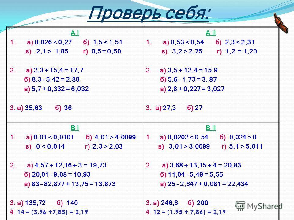 Проверь себя: А I 1.а) 0,026 < 0,27 б) 1,5 < 1,51 в) 2,1 > 1,85 г) 0,5 = 0,50 2. а) 2,3 + 15,4 = 17,7 б) 8,3 – 5,42 = 2,88 в) 5,7 + 0,332 = 6,032 3. а) 35,63 б) 36 А II 1.а) 0,53 < 0,54 б) 2,3 < 2,31 в) 3,2 > 2,75 г) 1,2 = 1,20 2. а) 3,5 + 12,4 = 15,