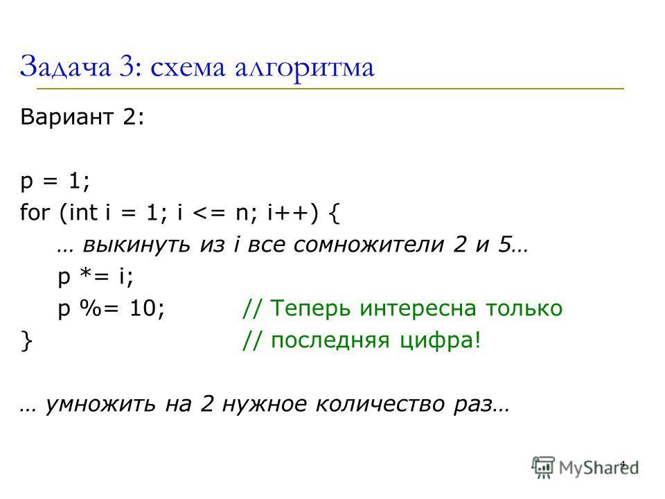 Задача 3: схема алгоритма Вариант 2: p = 1; for (int i = 1; i