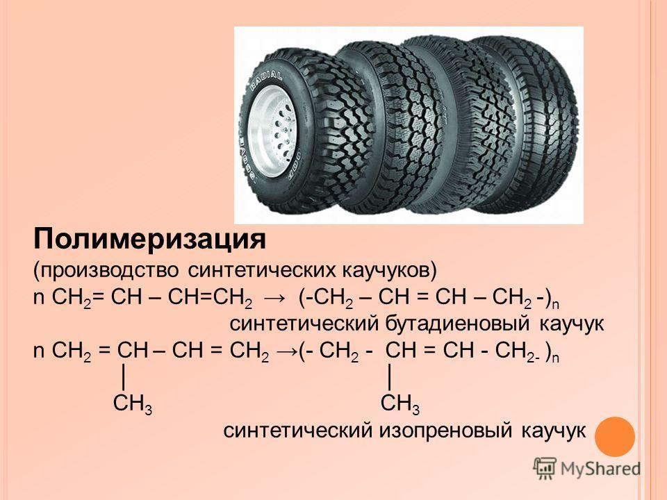 Полимеризация (производство синтетических каучуков) n CH 2 = CH – CH=CH 2 (-CH 2 – CH = CH – CH 2 -) n синтетический бутадиеновый каучук n CH 2 = CH – CH = CH 2 (- CH 2 - CH = CH - CH 2- ) n CH 3 CH 3 синтетический изопреновый каучук