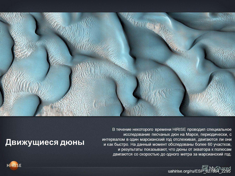 Движущиеся дюны uahirise.org/ru/ESP_027864_2295 В течение некоторого времени HiRISE проводил специальное исследование песчаных дюн на Марсе, периодически, с интервалом в один марсианский год отслеживая, двигаются ли они и как быстро. На данный момент