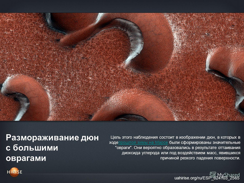 Размораживание дюн с большими оврагами uahirise.org/ru/ESP_024103_2565 Цель этого наблюдения состоит в изображении дюн, в которых в ходепрошлой зимы на Марсе были сформированы значительные