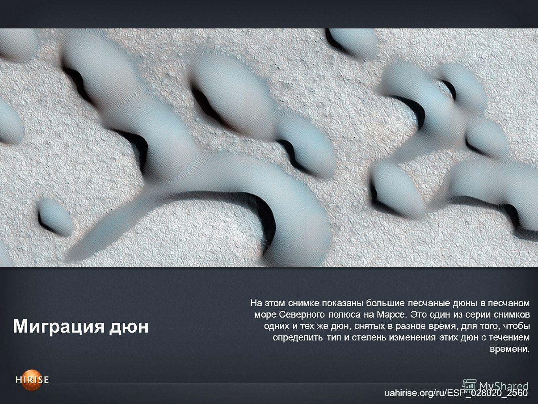 Миграция дюн uahirise.org/ru/ESP_028020_2560 На этом снимке показаны большие песчаные дюны в песчаном море Северного полюса на Марсе. Это один из серии снимков одних и тех же дюн, снятых в разное время, для того, чтобы определить тип и степень измене