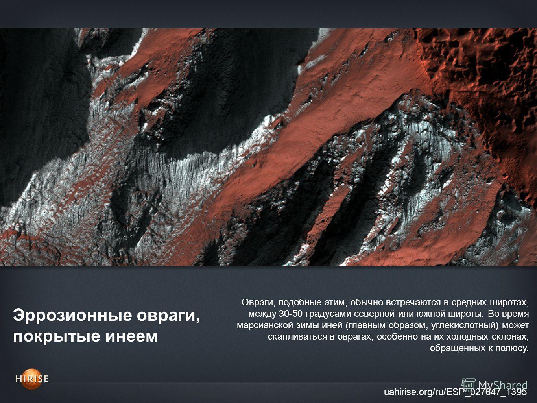 Эррозионные овраги, покрытые инеем uahirise.org/ru/ESP_027647_1395 Овраги, подобные этим, обычно встречаются в средних широтах, между 30-50 градусами северной или южной широты. Во время марсианской зимы иней (главным образом, углекислотный) может ска