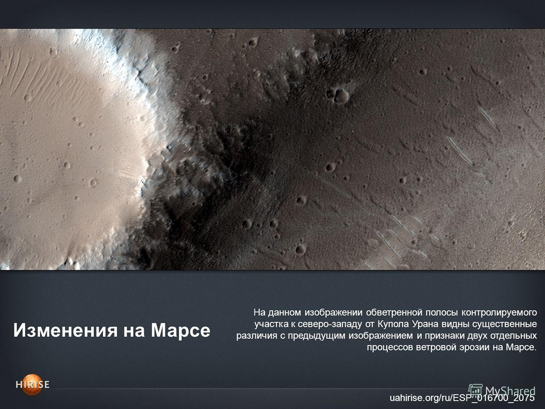 Изменения на Марсе uahirise.org/ru/ESP_016700_2075 На данном изображении обветренной полосы контролируемого участка к северо-западу от Купола Урана видны существенные различия с предыдущим изображением и признаки двух отдельных процессов ветровой эро