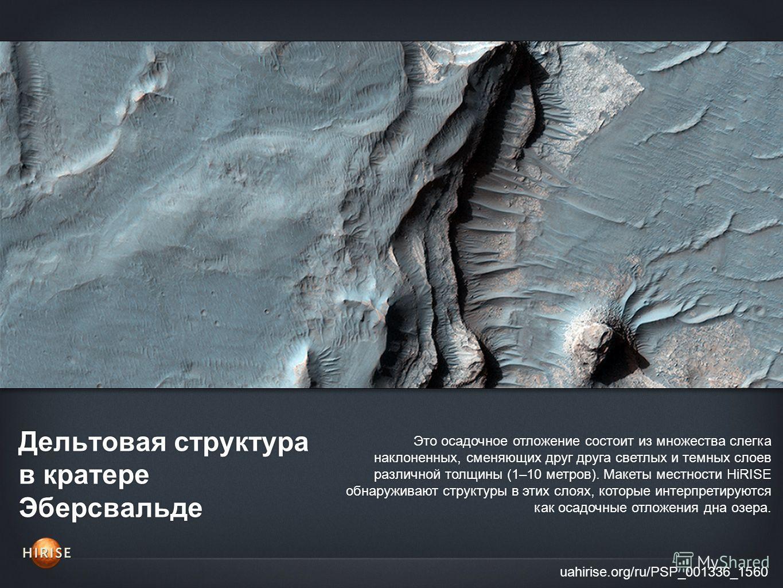 Дельтовая структура в кратере Эберсвальде uahirise.org/ru/PSP_001336_1560 Это осадочное отложение состоит из множества слегка наклоненных, сменяющих друг друга светлых и темных слоев различной толщины (1–10 метров). Макеты местности HiRISE обнаружива