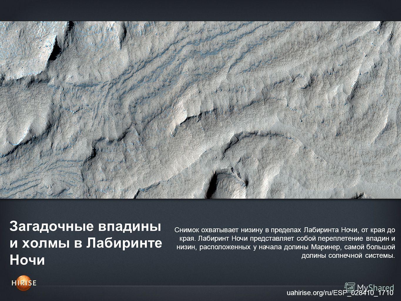 Загадочные впадины и холмы в Лабиринте Ночи uahirise.org/ru/ESP_028410_1710 Снимок охватывает низину в пределах Лабиринта Ночи, от края до края. Лабиринт Ночи представляет собой переплетение впадин и низин, расположенных у начала долины Маринер, само