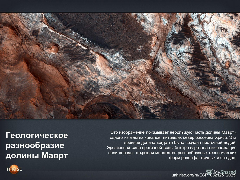 Геологическое разнообразие долины Маврт uahirise.org/ru/ESP_032125_2025 Это изображение показывает небольшую часть долины Маврт - одного из многих каналов, питавших север бассейна Хриса. Эта древняя долина когда-то была создана проточной водой. Эрози