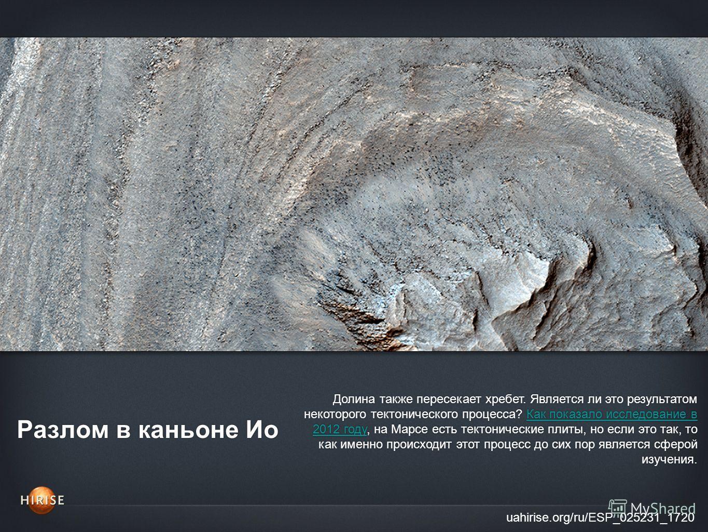 Разлом в каньоне Ио uahirise.org/ru/ESP_025231_1720 Долина также пересекает хребет. Является ли это результатом некоторого тектонического процесса? Как показало исследование в 2012 году, на Марсе есть тектонические плиты, но если это так, то как имен
