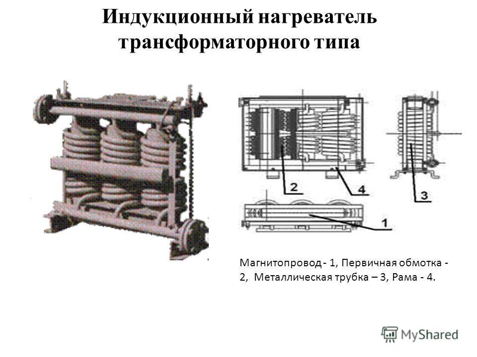 Индукционный нагреватель трансформаторного типа Магнитопровод - 1, Первичная обмотка - 2, Металлическая трубка – 3, Рама - 4.