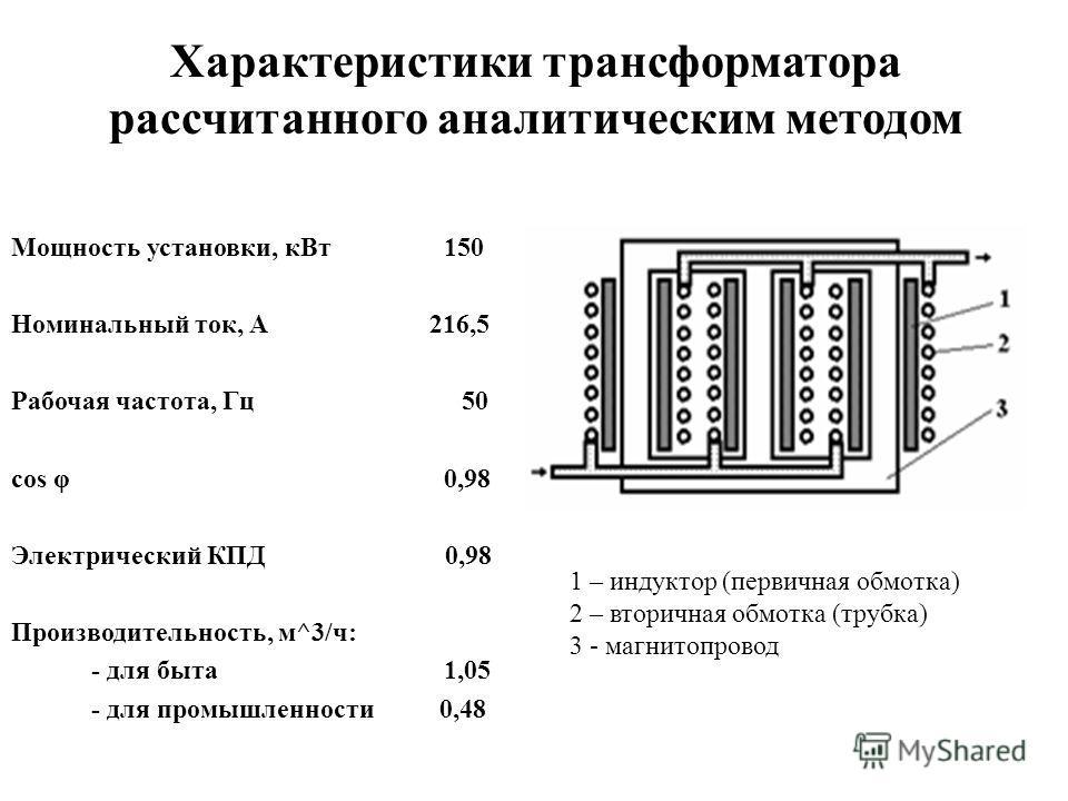 Характеристики трансформатора рассчитанного аналитическим методом Мощность установки, кВт 150 Номинальный ток, А 216,5 Рабочая частота, Гц 50 cos φ 0,98 Электрический КПД 0,98 Производительность, м^3/ч: - для быта 1,05 - для промышленности 0,48 1 – и