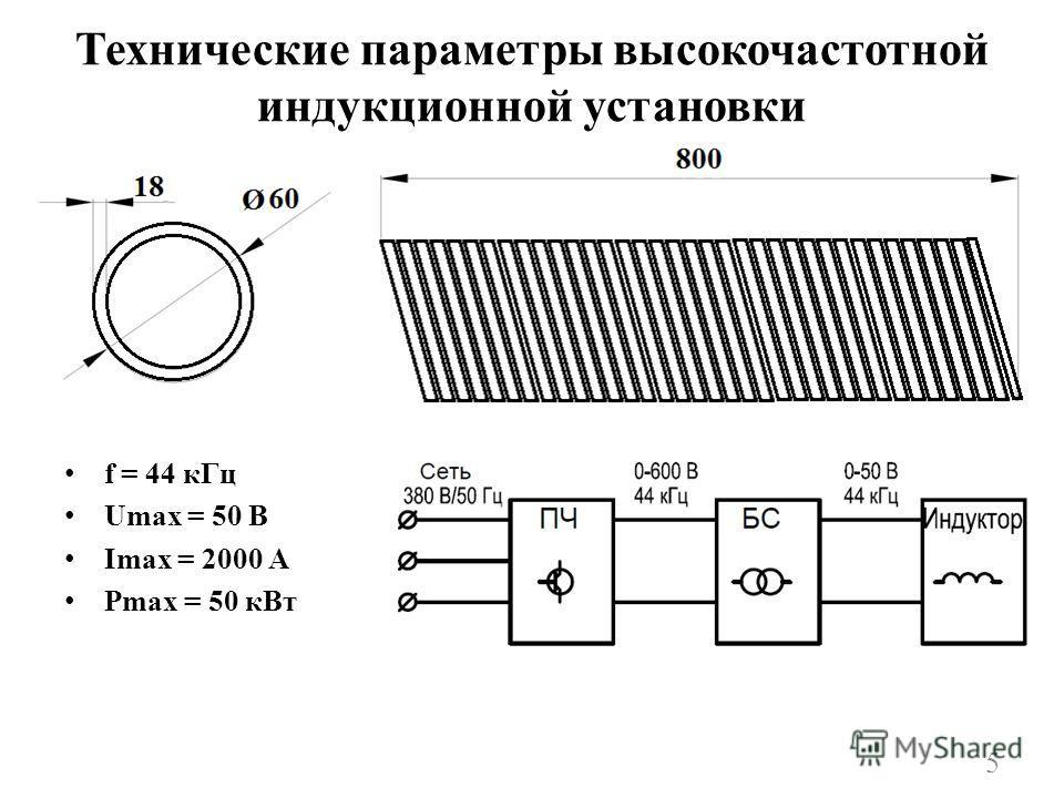 Технические параметры высокочастотной индукционной установки f = 44 кГц Umax = 50 В Imax = 2000 A Pmax = 50 кВт 5