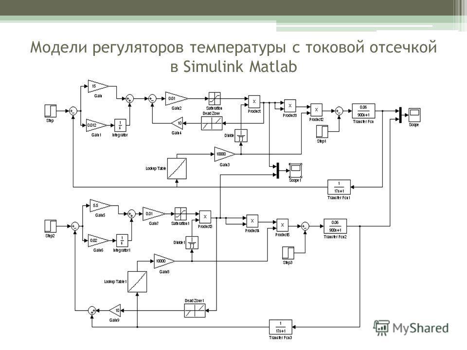 Модели регуляторов температуры с токовой отсечкой в Simulink Matlab